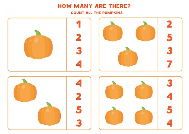 Cuenta la cantidad de calabazas y encierra en un círculo la respuesta correcta. juego educativo de matemáticas para niños. hoja de trabajo divertida para niños en edad preescolar.