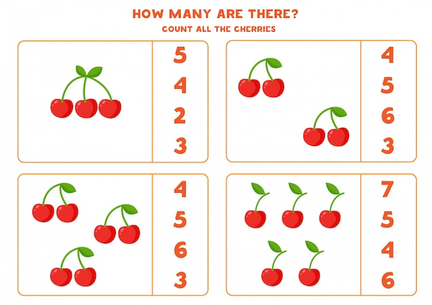 Cuenta la cantidad de cerezas. juego educativo de matemáticas.