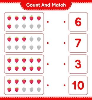 Cuenta y combina, cuenta el número de frambuesas y haz coincidir con los números correctos. juego educativo para niños, hoja de trabajo imprimible.