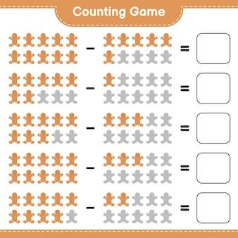 Cuenta el juego, cuenta el número de gingerbread man y escribe el resultado. juego educativo para niños