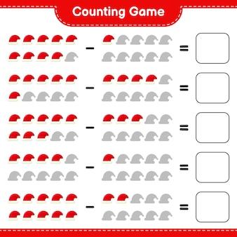 Cuenta el juego, cuenta el número de sombreros de papá noel y escribe el resultado. juego educativo para niños