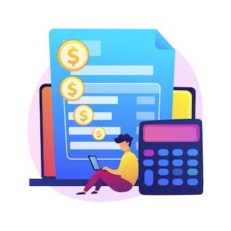 Cuenta de pago online. detalles de la tarjeta de crédito, información personal, transacción financiera. trabajador de banco de personaje de dibujos animados. banca por internet