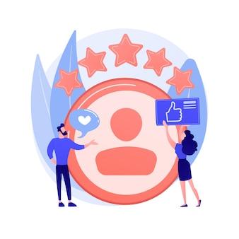 Cuenta personal. comentarios positivos, opiniones de usuarios, estrellas de fidelidad. sitio de citas, ranking de sitios web. mujer evaluando personaje de dibujos animados de la página web.