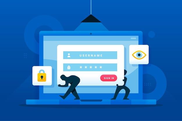 Cuenta de phishing con laptop