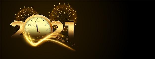 Cuenta regresiva para el año nuevo 2020 con reloj y pancarta de fuegos artificiales