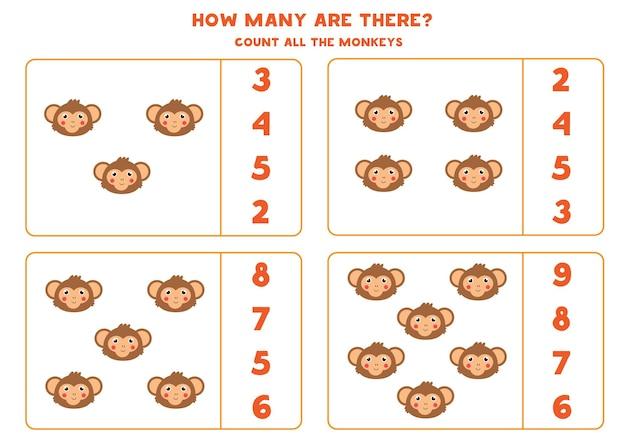 Cuenta todas las caras de monos y encierra en un círculo la respuesta correcta. juego educativo de matemáticas para niños.
