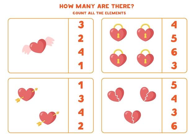 Cuenta todos los corazones. juego de matemáticas para niños. hoja de trabajo de conteo para niños en edad preescolar.