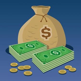 Cuentas y saco de dinero