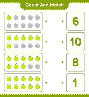 Cuente y combine, cuente el número de apple y combine con los números correctos. juego educativo para niños, hoja de trabajo imprimible.