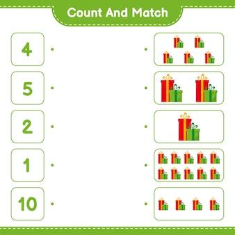 Cuente y combine, cuente el número de cajas de regalo y combine con los números correctos. juego educativo para niños