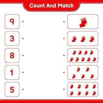 Cuente y combine, cuente el número de calcetines y combine con los números correctos. juego educativo para niños