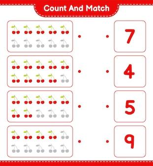 Cuente y combine, cuente el número de cerezas y combine con los números correctos. juego educativo para niños, hoja de trabajo imprimible.