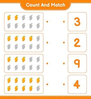 Cuente y combine, cuente el número de mango y combine con los números correctos. juego educativo para niños, hoja de trabajo imprimible.