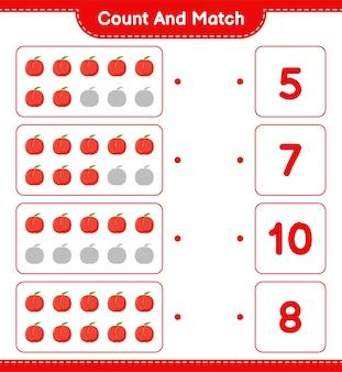 Cuente y combine, cuente el número de nectarina y combine con los números correctos. juego educativo para niños, hoja de trabajo imprimible.