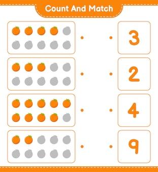 Cuente y combine, cuente el número de orange y combine con los números correctos. juego educativo para niños, hoja de trabajo imprimible.