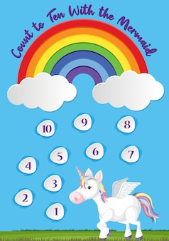 Cuente hasta diez para preescolar en el fondo del tema del arco iris y del unicornio