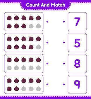 Cuente y empareje, cuente el número de fig y empareje con los números correctos. juego educativo para niños, hoja de trabajo imprimible.