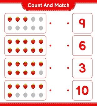 Cuente y empareje, cuente el número de fresa y empareje con los números correctos. juego educativo para niños, hoja de trabajo imprimible.