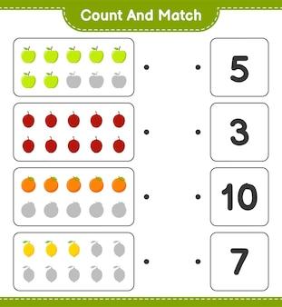 Cuente y empareje, cuente el número de frutas y empareje con los números correctos. juego educativo para niños, hoja de trabajo imprimible.