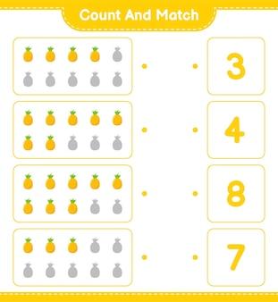 Cuente y empareje, cuente el número de piña y empareje con los números correctos. juego educativo para niños, hoja de trabajo imprimible.