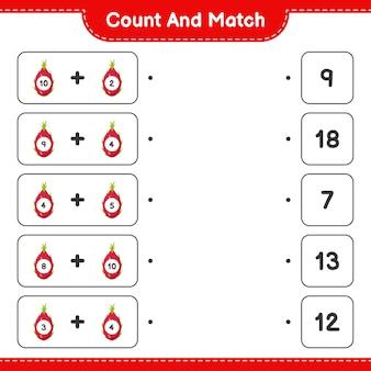 Cuente y empareje, cuente el número de pitaya y empareje con los números correctos. juego educativo para niños, hoja de trabajo imprimible.