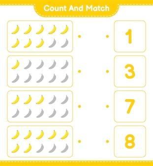 Cuente y empareje, cuente el número de plátano y empareje con los números correctos. juego educativo para niños, hoja de trabajo imprimible.