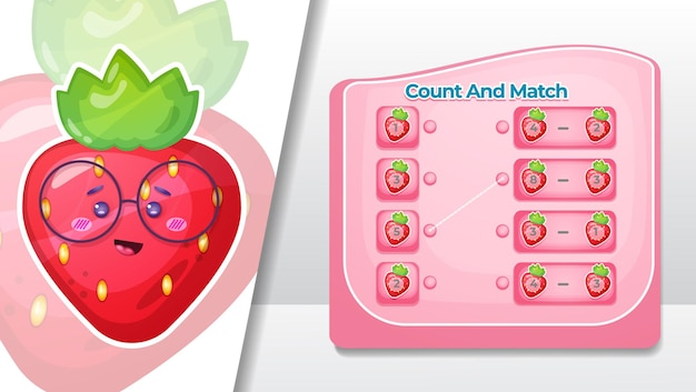 Cuente y empareje el número de frutas de fresa.