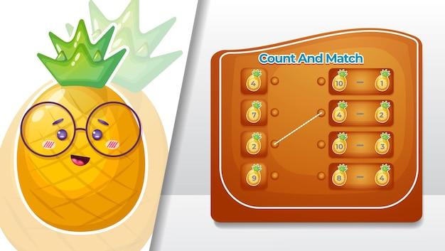 Cuente y empareje el número en las frutas de piña.