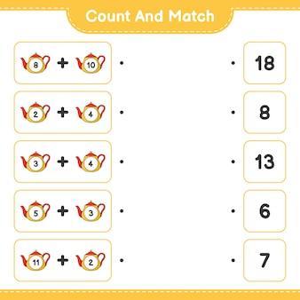 Cuente y haga coincidir, cuente el número de tetera y haga coincidir con los números correctos