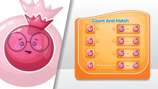 Cuente y haga coincidir el número de frutas de granada.