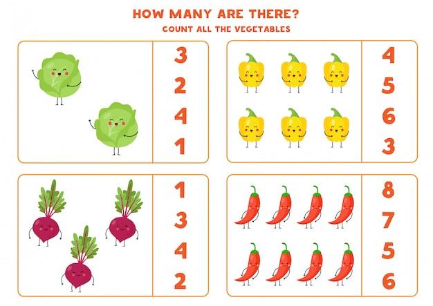 Cuente las lindas verduras kawaii y circule la respuesta correcta.