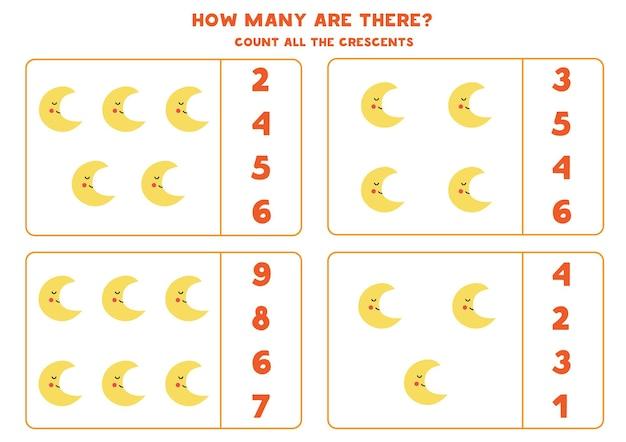 Cuente todas las medias lunas y encierre en un círculo las respuestas correctas. juego de matemáticas para niños.