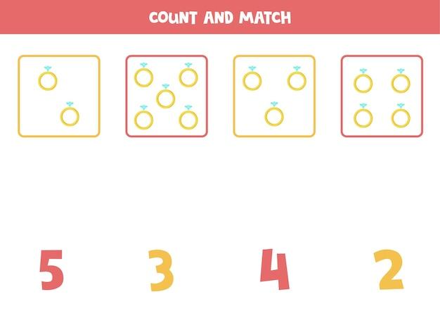 Cuente todos los anillos de san valentín y combine con la respuesta correcta. juego educativo de matemáticas para niños.