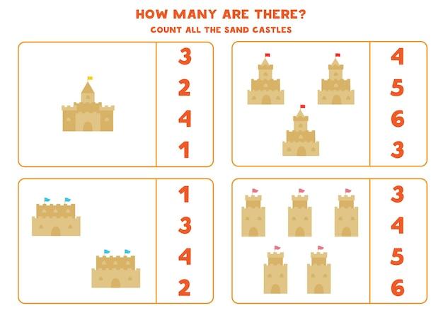 Cuente todos los castillos de arena y encierre en un círculo las respuestas correctas. juego de matemáticas para niños.