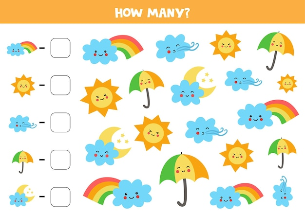 Cuente todos los elementos meteorológicos y escriba el número en el cuadro. juego de matemáticas para niños.