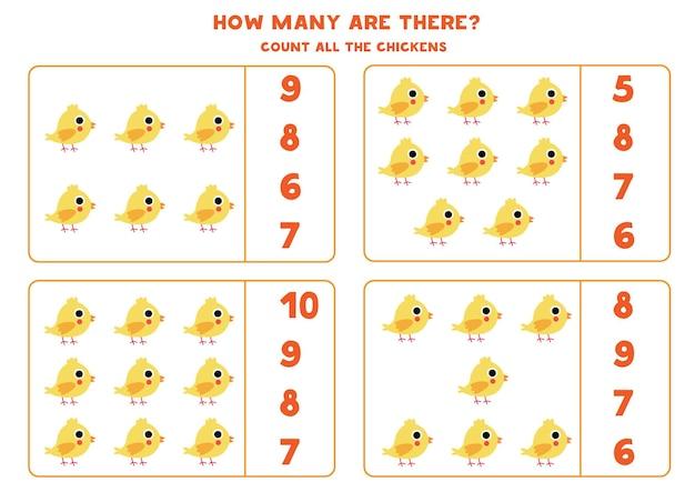 Cuente todos los pollos y empareje con la respuesta correcta. juego educativo de matemáticas para niños.
