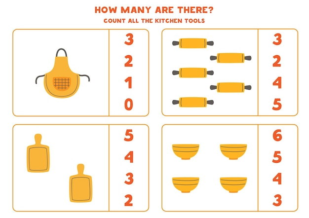 Cuente todos los utensilios de cocina y encierre en un círculo las respuestas correctas. juego de matemáticas para niños.