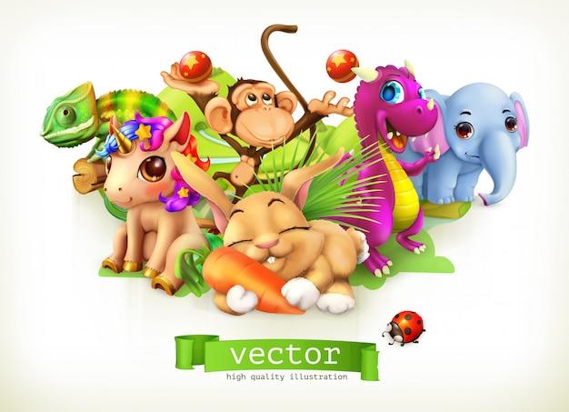 Cuento de hadas animales. feliz conejito, conejo, lindo unicornio, pequeño dragón, bebé elefante, mono, camaleón. 3d