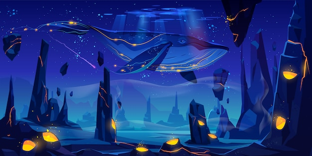 Cuento de hadas espacial con ballena enorme