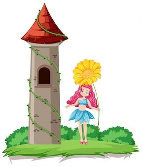 Cuento de hadas con estilo de dibujos animados de flores y la torre del castillo sobre fondo de cielo del arco iris