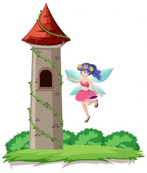 Cuento de hadas y estilo de dibujos animados de la torre del castillo sobre fondo de cielo del arco iris