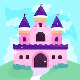Cuento de hadas mágico castillo color rosa