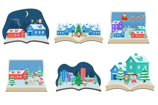 Cuento de hadas navideño que sale de un libro.