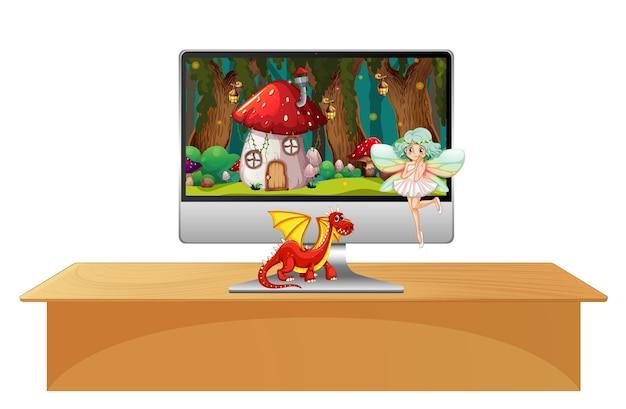 Cuento de hadas en la pantalla de la computadora