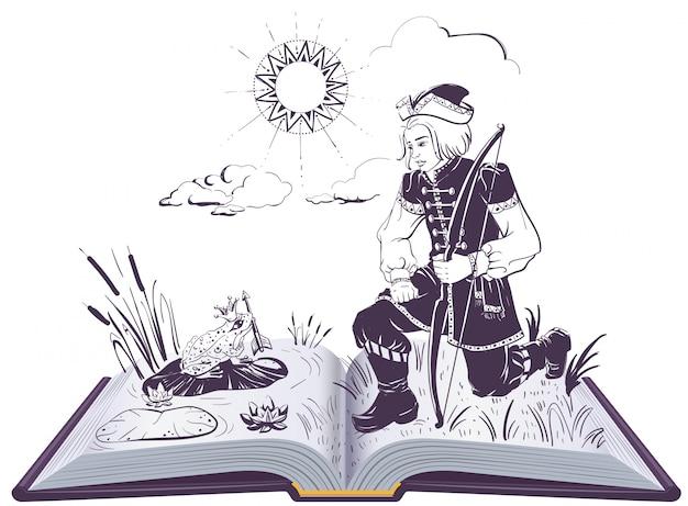 Cuento de hadas ruso sobre la princesa rana. rana sostiene una flecha libro abierto ilustración
