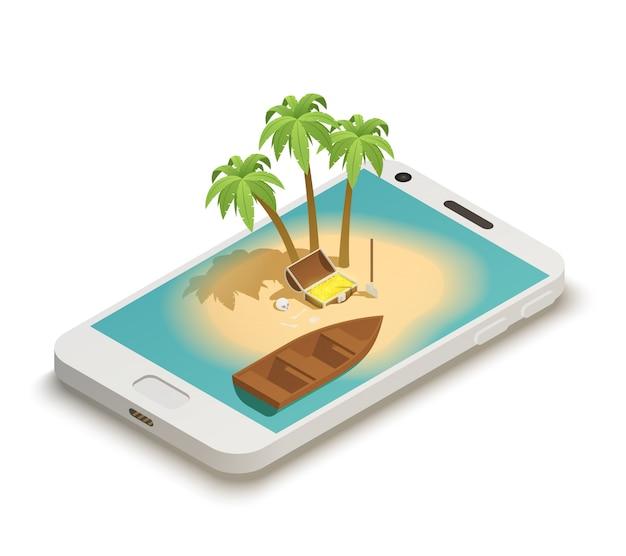 Cuento de hadas smartphone isométrico