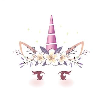 Cuento de hadas unicornio cara ilustración