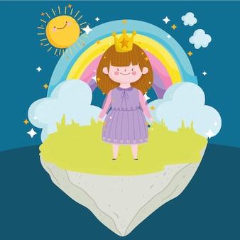 Cuento de princesa con corona arco iris nubes sol magia ilustración de dibujos animados
