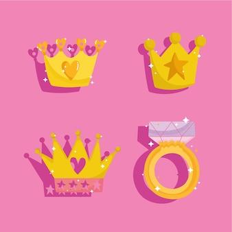 Cuento de princesa establece coronas de iconos y anillo con dibujos animados de gemas