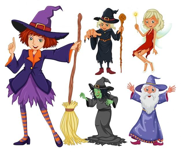 Cuentos establecidos con la bruja y el mago